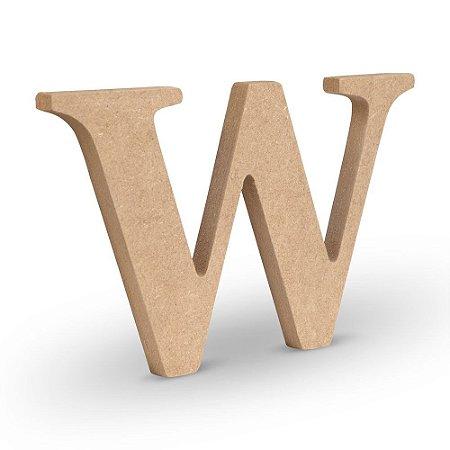 """Letra """"W"""" de MDF Crú 16cm"""
