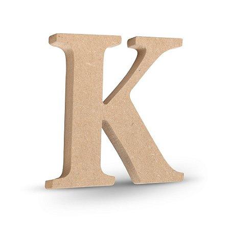 """Letra """"K"""" de MDF Crú 16cm"""
