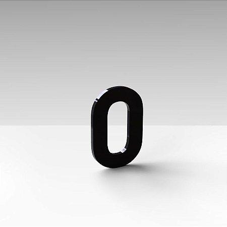 """Número """"0"""" de Apartamento em Acrílico Preto 5cm"""