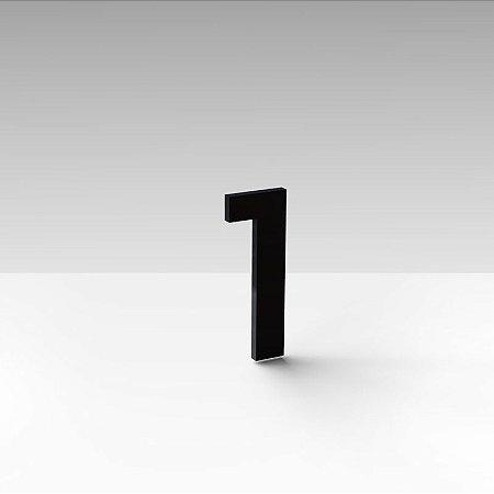 """Número """"1"""" de Apartamento em Acrílico Preto 5cm"""