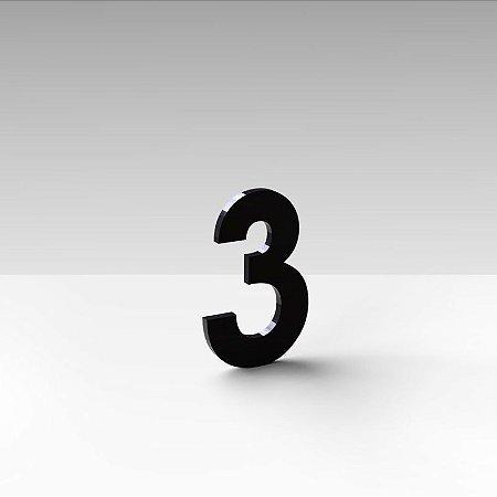 """Número """"3"""" de Apartamento em Acrílico Preto 5cm"""