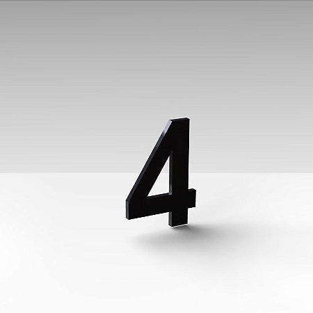 """Número """"4"""" de Apartamento em Acrílico Preto 5cm"""