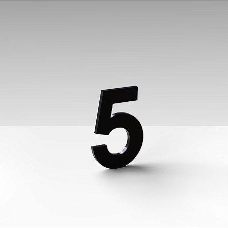 """Número """"5"""" de Apartamento em Acrílico Preto 5cm"""