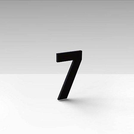 """Número """"7"""" de Apartamento em Acrílico Preto 5cm"""