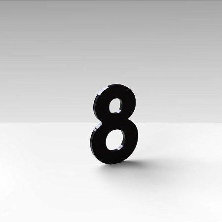 """Número """"8"""" de Apartamento em Acrílico Preto 5cm"""