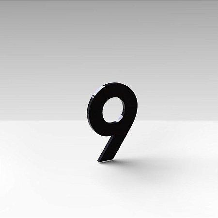 """Número """"9"""" de Apartamento em Acrílico Preto 5cm"""