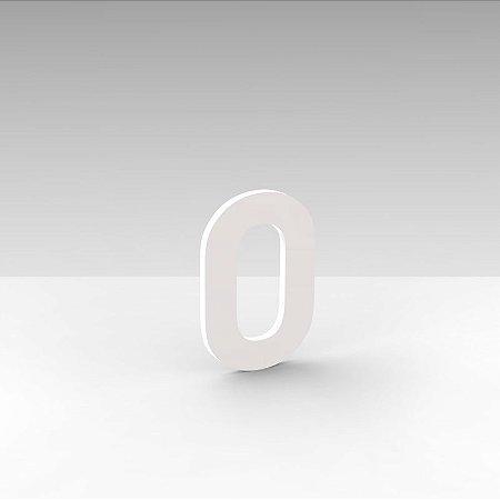 """Número """"0"""" de Apartamento em Acrílico Branco 5cm"""