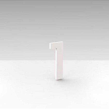"""Número """"1"""" de Apartamento em Acrílico Branco 5cm"""