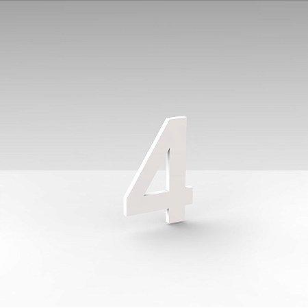"""Número """"4"""" de Apartamento em Acrílico Branco 5cm"""