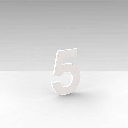 """Número """"5"""" de Apartamento em Acrílico Branco 5cm"""