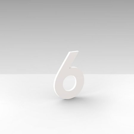 """Número """"6"""" de Apartamento em Acrílico Branco 5cm"""