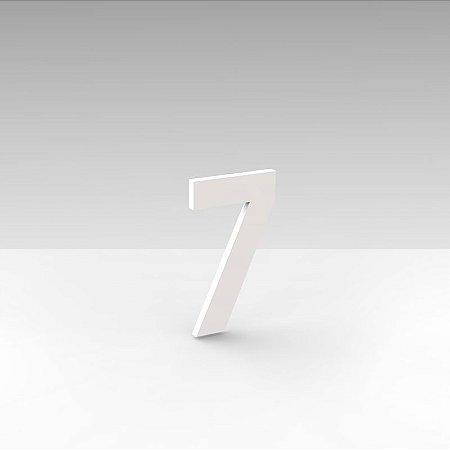 """Número """"7"""" de Apartamento em Acrílico Branco 5cm"""