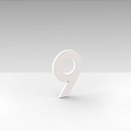 """Número """"9"""" de Apartamento em Acrílico Branco 5cm"""