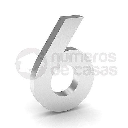 """Número """"6"""" de Inox Polido 304 18x2cm"""