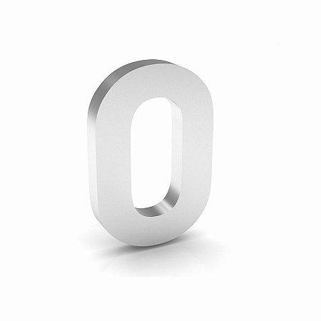 """Número """"0"""" de Inox Polido 12x2cm"""