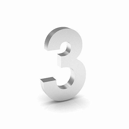 """Número """"3"""" de Inox Polido 12x2cm"""