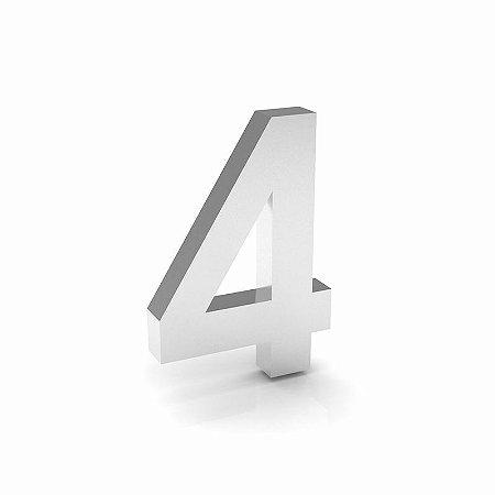 """Número """"4"""" de Inox Polido 12x2cm"""