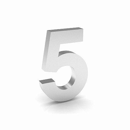 """Número """"5"""" de Inox Polido 12x2cm"""