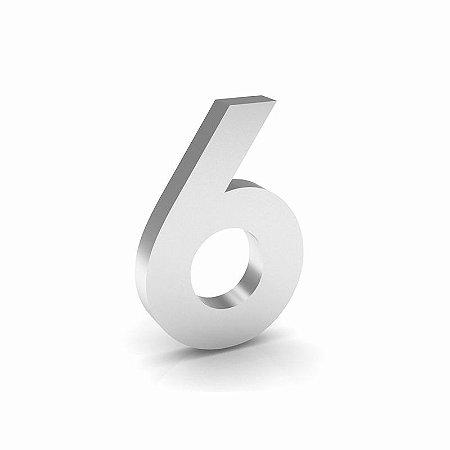 """Número """"6"""" de Inox Polido 12x2cm"""
