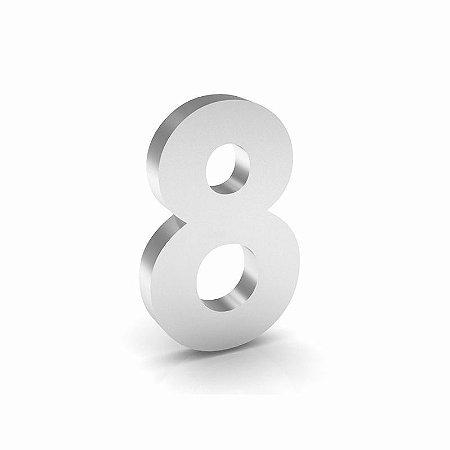 """Número """"8"""" de Inox Polido 12x2cm"""