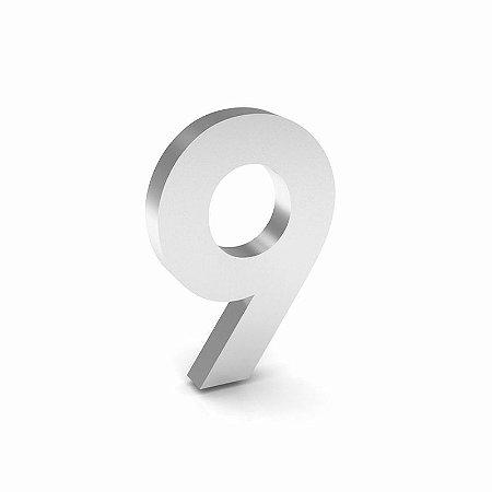 """Número """"9"""" de Inox Polido 12x2cm"""