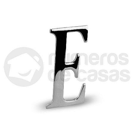 """Letra """"E"""" Cromado Liso 12,5cm"""