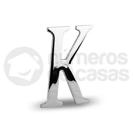 "Letra ""K"" Cromado Liso 12,5cm"