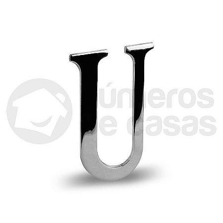 "Letra ""U"" Cromado Liso 12,5cm"