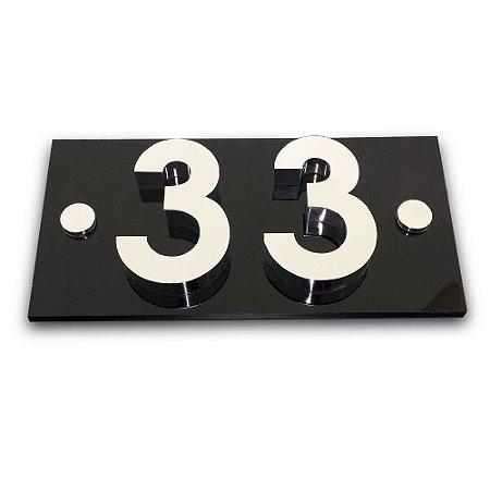 Kit Placa de Acrílico com 2 Números de Inox
