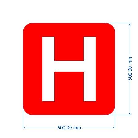Stencil Símbolo Sinalização Horizontal Hidrante 50x50cm