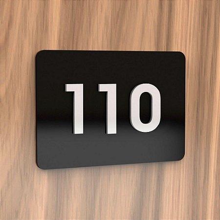 Placa de Acrílico para Apartamento com 3 Números Cor Preta