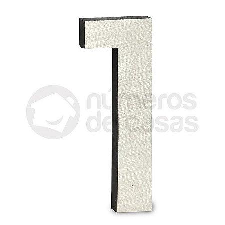 """Número """"1""""  de Aluminio Moderno Escovado 18x1cm"""