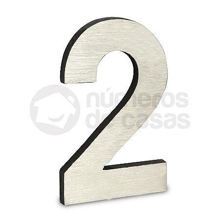 """Número """"2"""" de Aluminio Moderno Escovado 18x1cm"""