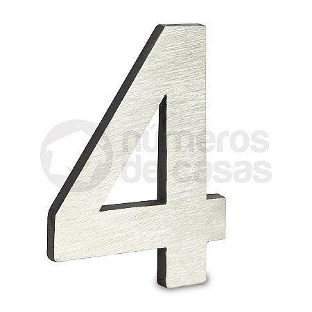 """Número """"4"""" de Aluminio Moderno Escovado 18x1cm"""