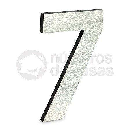 """Número """"7"""" de Aluminio Moderno Escovado 18x1cm"""