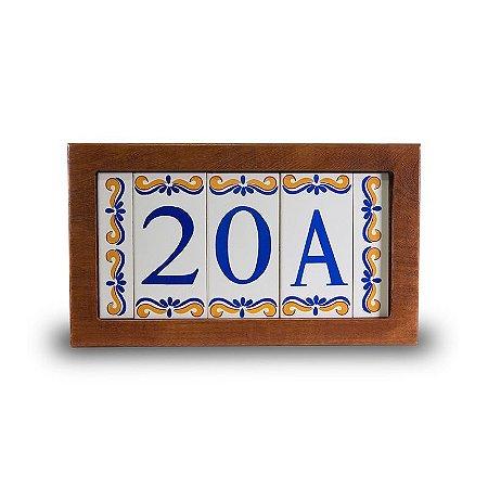 Kit Placa de Madeira com 3 Números de Cerâmica e Bordas Modelo 2