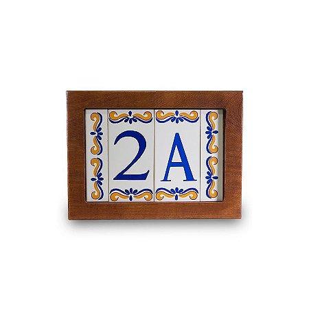 Kit Placa de Madeira com 2 Números de Cerâmica e Bordas Modelo 2