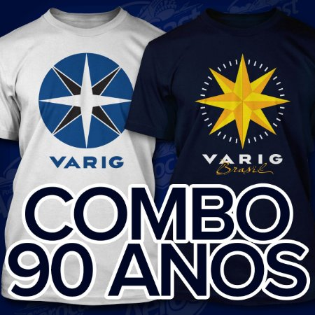 Combo Camisetas VARIG 90 anos