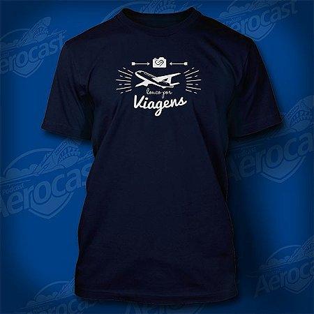 Camiseta Louco por Viagens Azul - Avião