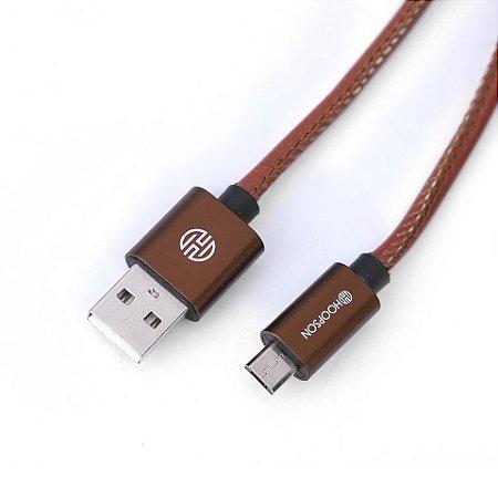 CABO MICRO USB ANDROID COURO 1 METRO