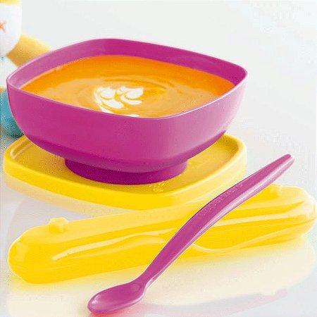 Tupperware Tigelinha + Colher Infantil Rosa kit 2 Peças