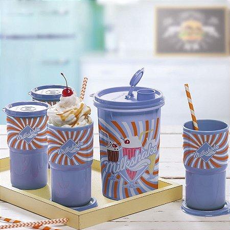 Tupperware Guarda Suco + Copos MilkShake Kit 5 Peças Azul