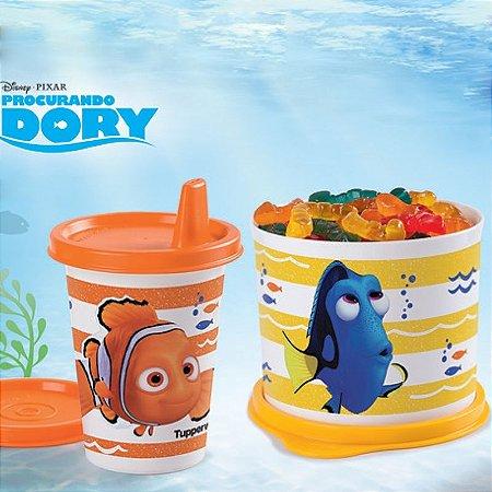 Tupperware Redondinha Dory + Copinho com bico Nemo Kit 2 Peças