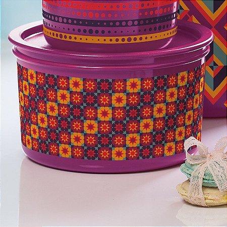Tupperware Pote Master 1,5 Litro Roxo Geométrico