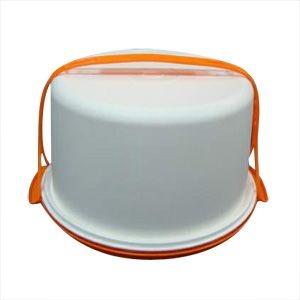 Tupperware Big Cake Redondo Branco com base Laranja - Porta Bolo