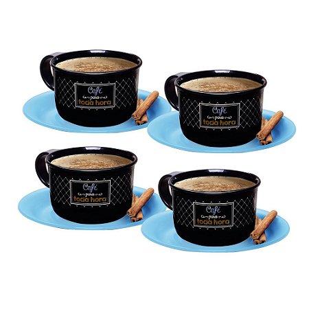 Tupperware Xícara de Café Bistrô 150ml Pires Azul kit 4 Peças