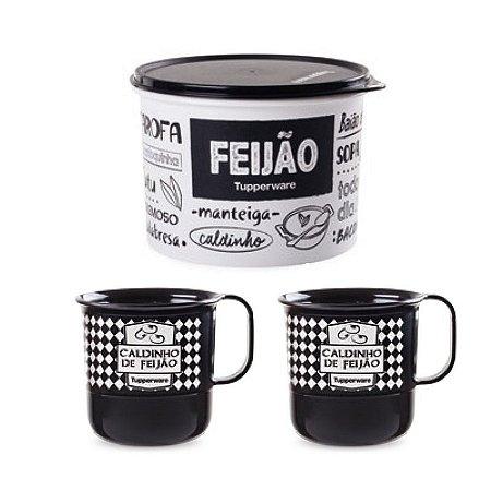 Tupperware Caixa Feijão + Canecas Caldinho de Feijão Kit 3 Peças