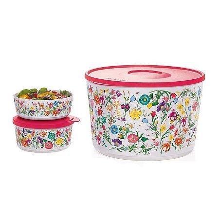 Tupperware Tigela Ilúmina Primavera Branco Tampa Vermelha kit 3 Peças
