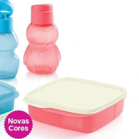 Tupperware Basic Line com Divisórias Guava 550ml + Eco Kids Garrafa Pinguim 350ml Guava
