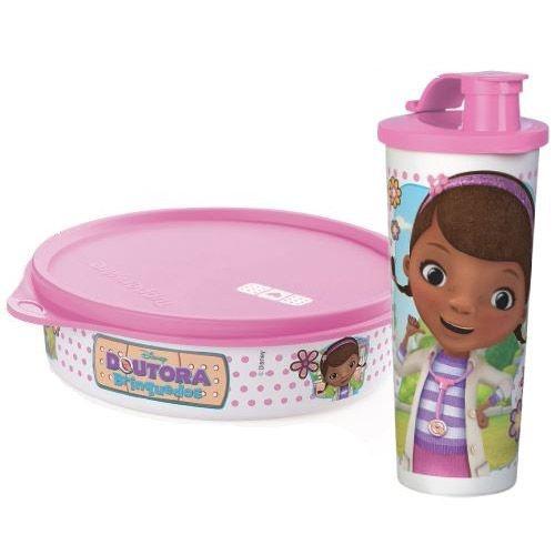 Tupperware Pratinho + Copo com Bico Doutora Brinquedos Rosa kit 2 peças